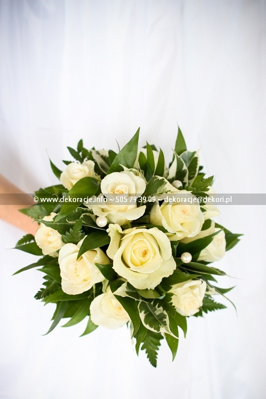 bukiet ślubny białe róże Gdynia