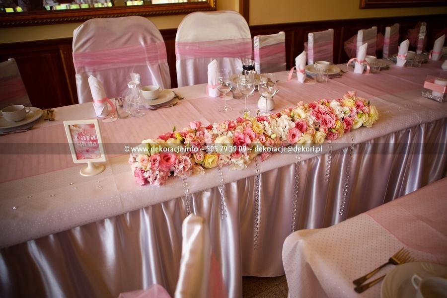 Dekoracja ślubna sali Żabi Dwór