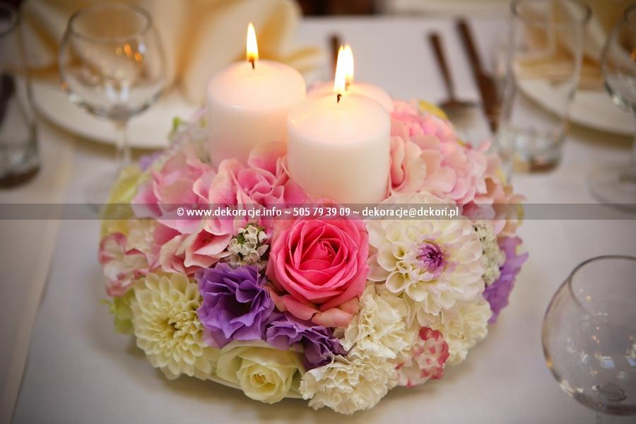 dekoracje ślubne na sali