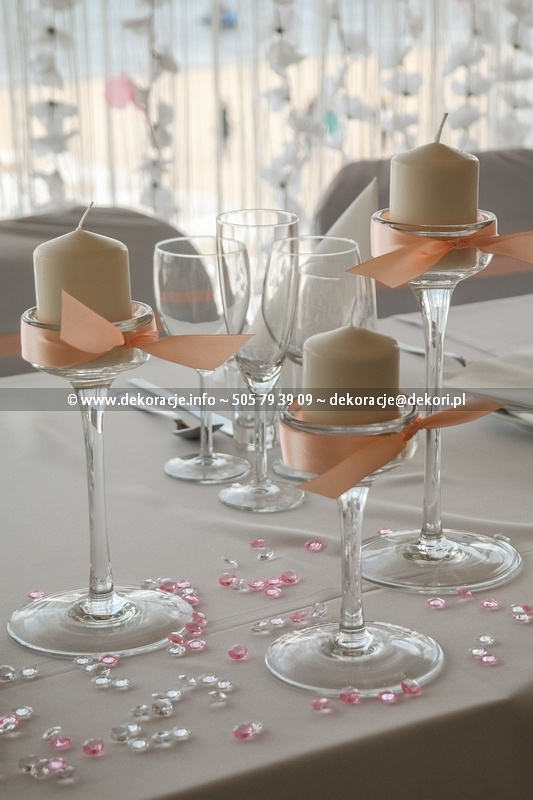 dekoracja ślubna świeczników na stół Gdynia
