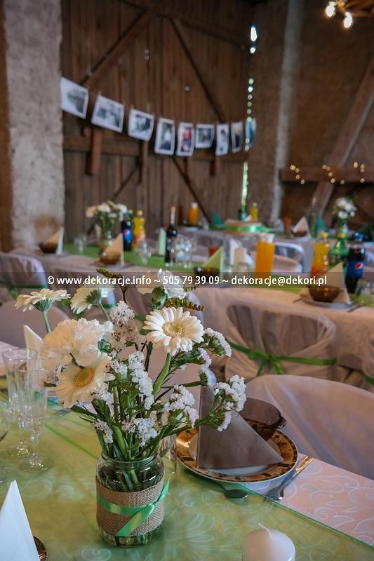 dekoracja sali kwiaty w słoikach Gdańsk