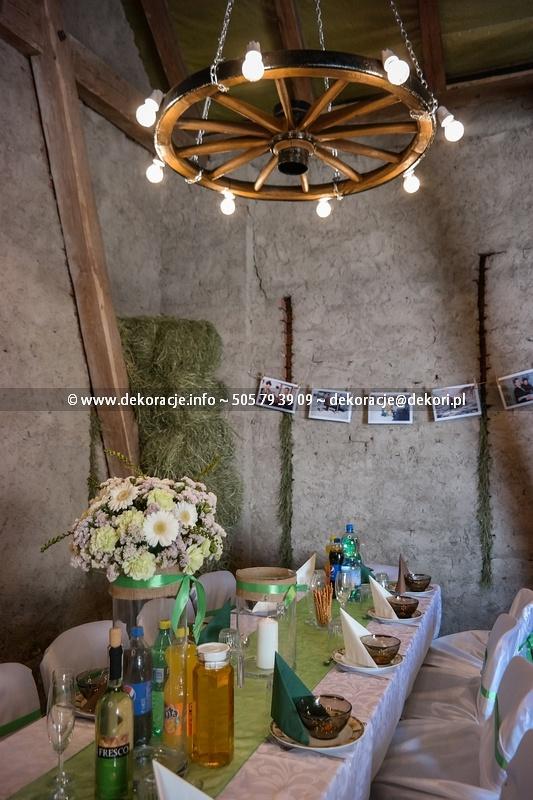 Dekoracja ślubna vintage zielony juta